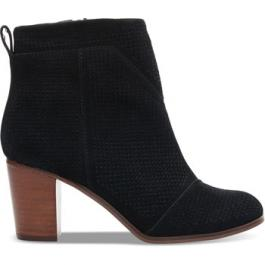 Toms Black Suede Perforated Lunata Booties