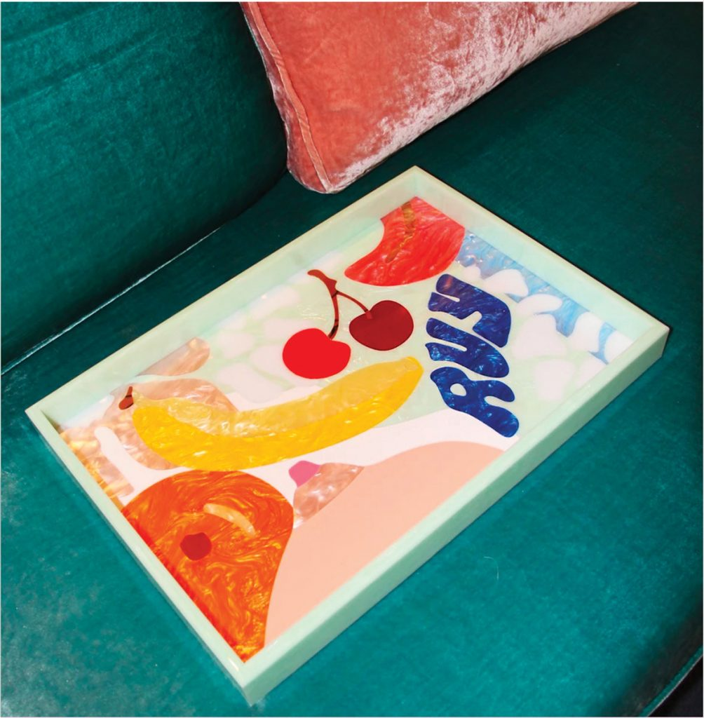 Custom acrylic tray, Edie Parker