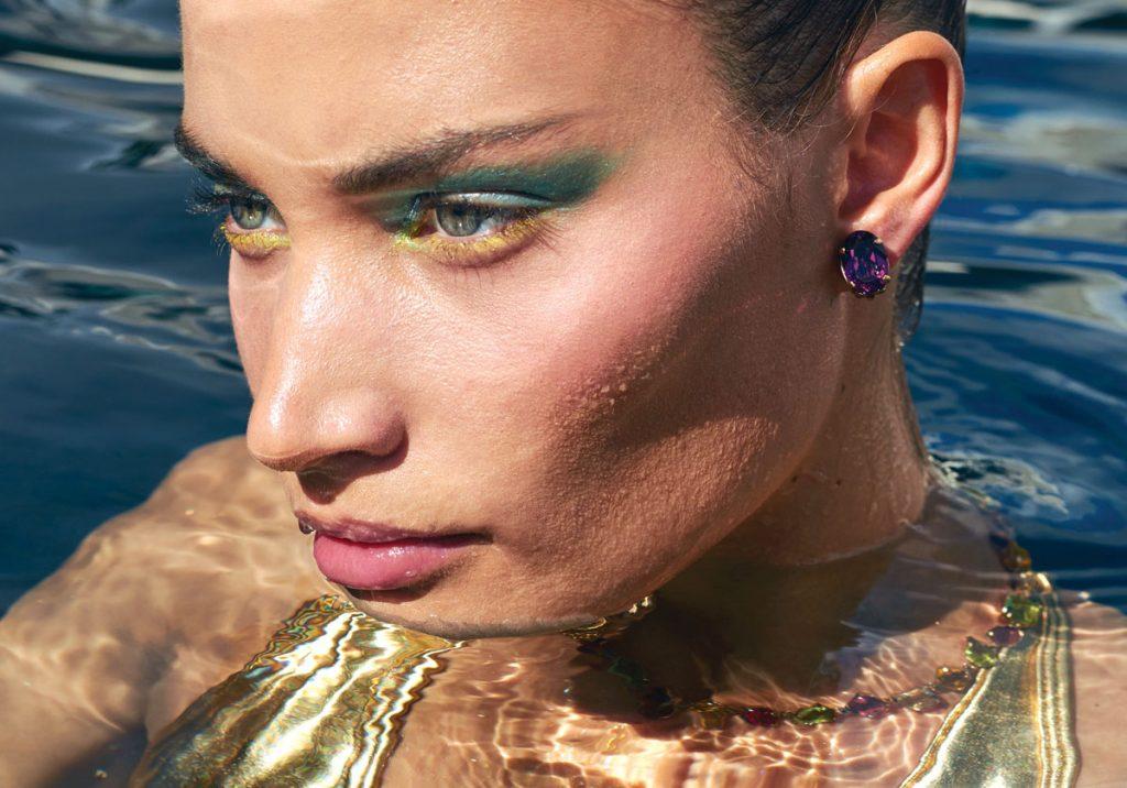 Rebekah Allred in Dolce & Gabbana brass:rhinestone earrings, necklace, Photo by Danny Cardozo
