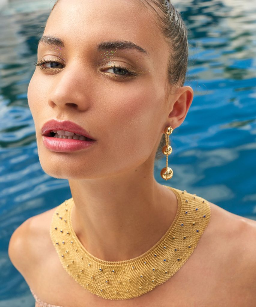 Rebekah Allred in Tiffany HardWear earrings and Elsa Peretti mesh collar necklace, Photo by Danny Cardozo 5