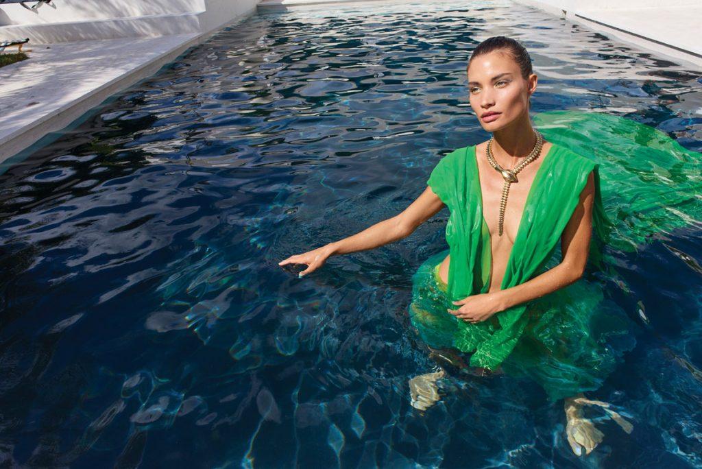 Rebekah Allred in vintage Fernando Garcia dress from Pinkgun Gallery, Elsa Peretti snake necklace, Photo by Danny Cardozo 2