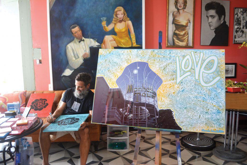 Renda Writer's artwork while in residence at the Manhattan Tower.