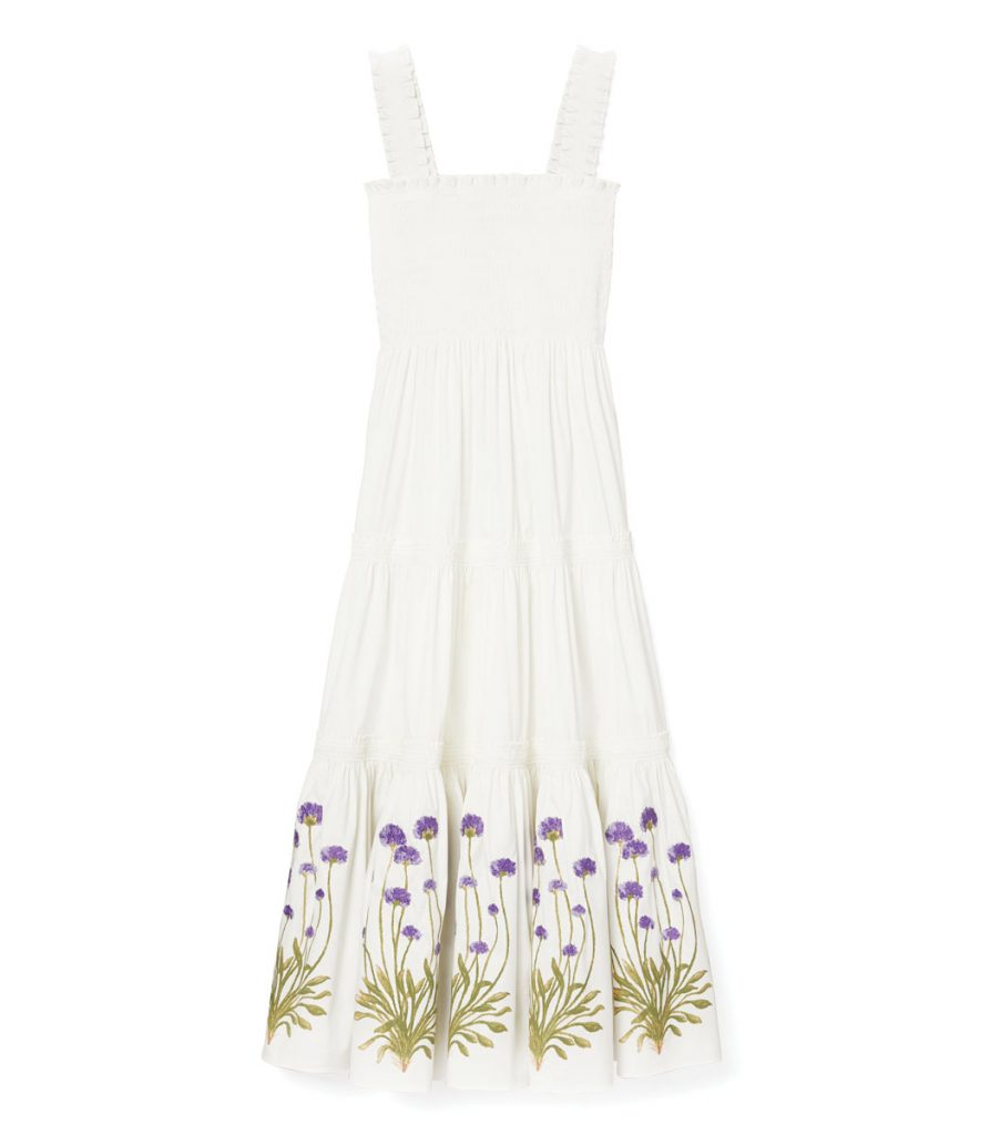 Tory Burch's smocked dress ($398), finished with gorgeous ruffled straps and embroidered flowers