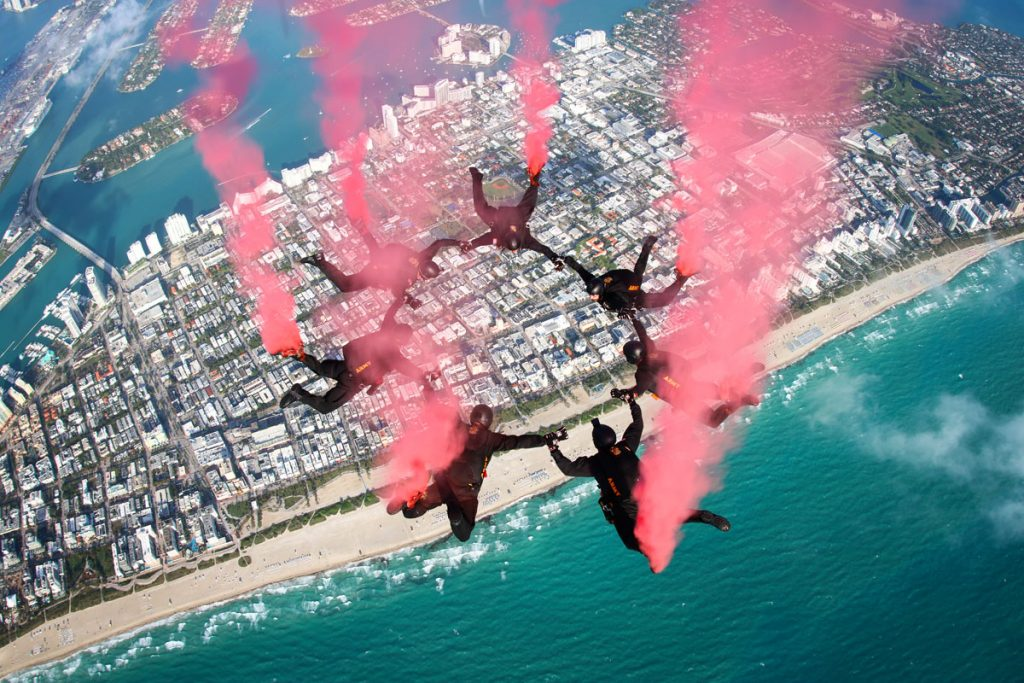 Golden Knights over Miami Beach, image courtesy National Salute to America's Heroes