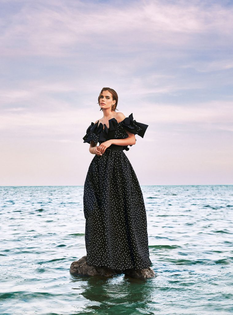 Carolina Herrera black and ivory gown; Louis Vuitton star ear studs; Dior CD ring, photo by Gabor Jurina