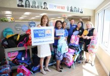 United Way of Broward County volunteers at the backpack drive.