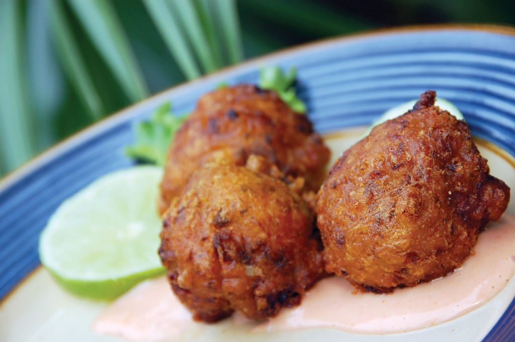 Conch fritters with dipping sauce