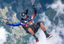 Guests will watch skydiving demonstrations at the inaugural Tribute to American Heroes