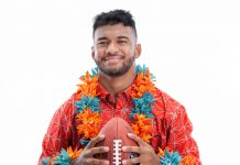 the custom leis are made with either fresh florals or silk flowers in orange and aqua resembling the Miami Dolphin team colors and benefit the Tua Foundation; Photo by BNMR GLVZ